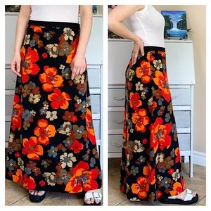 Vintage 70's Bohemian Floral Maxi Skirt